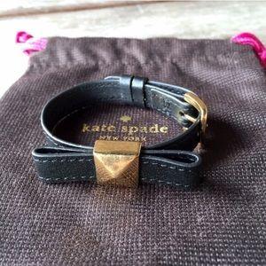 Kate Spade Black & Gold  Leather Bow Bracelet